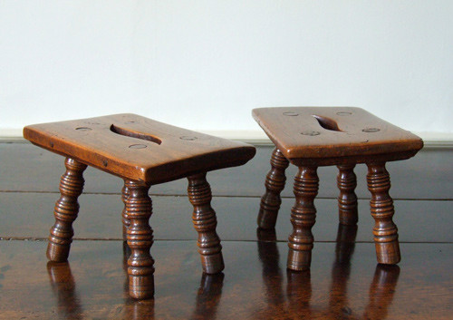 Pair of tiny treen stools