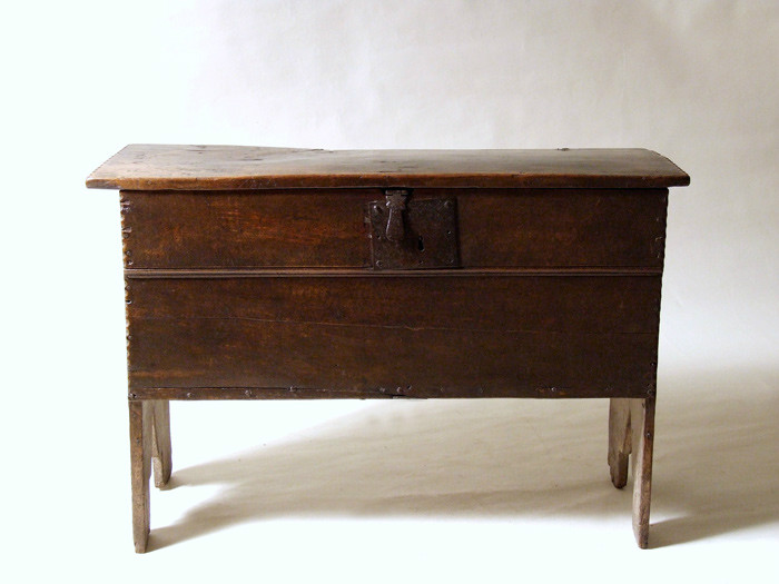 Early English boarded oak chest