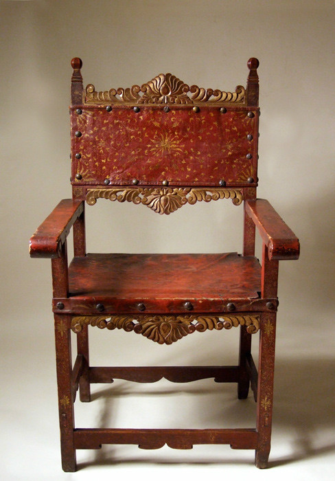 Iberian Colonial red lacquer armchair