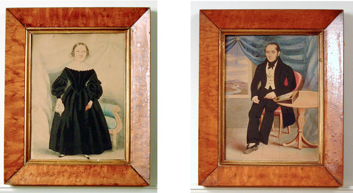 Pair of English naive portraits