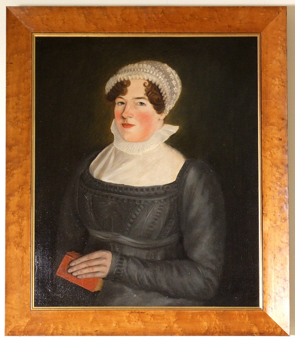 Naive oil portrait of a young woman