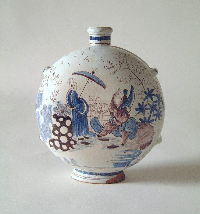 Circa 1730 French faience moon flask