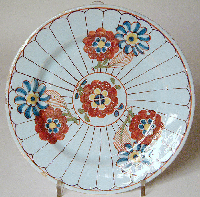 English polychrome delftware plate