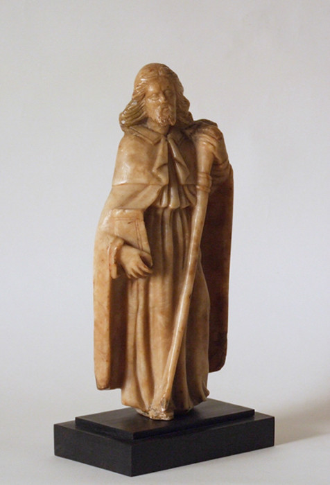 Carved alabaster sculpture of St James