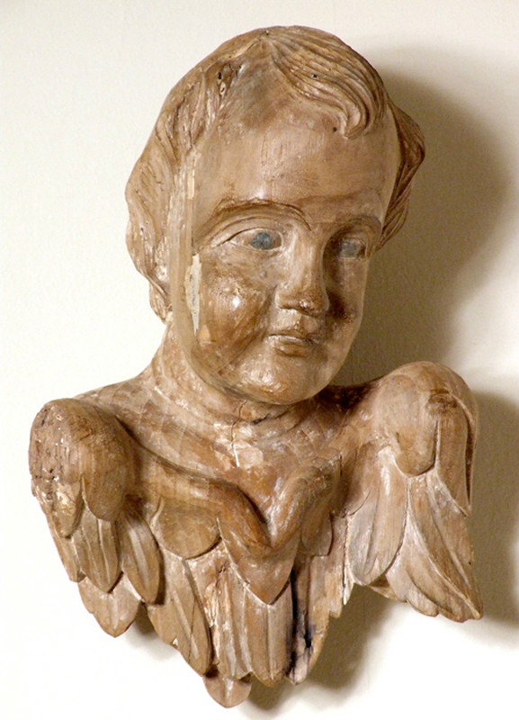 French carved cherub