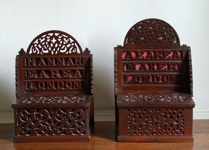 Rare pair of folk art boxes