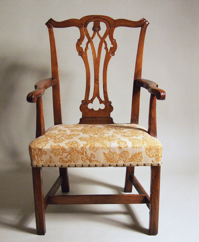 Country Chippendale elm armchair