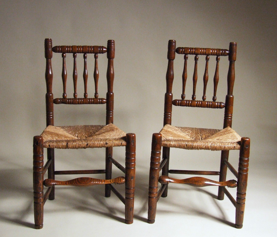 Pair of turned and rushed side chairs