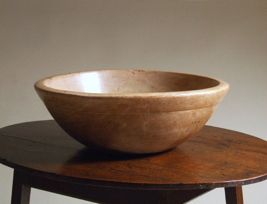 English treen dairy bowl